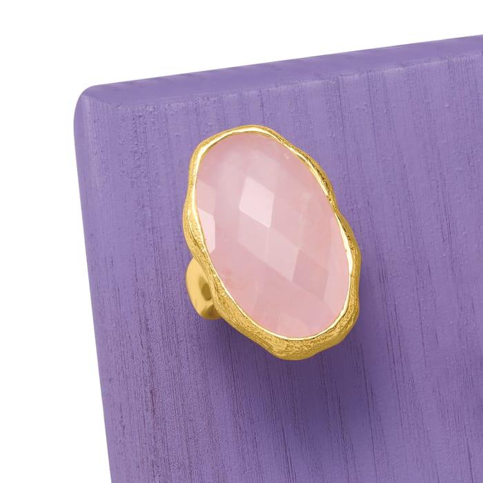 17.00 Carat Rose Quartz Ring in 18kt Gold Over Sterling
