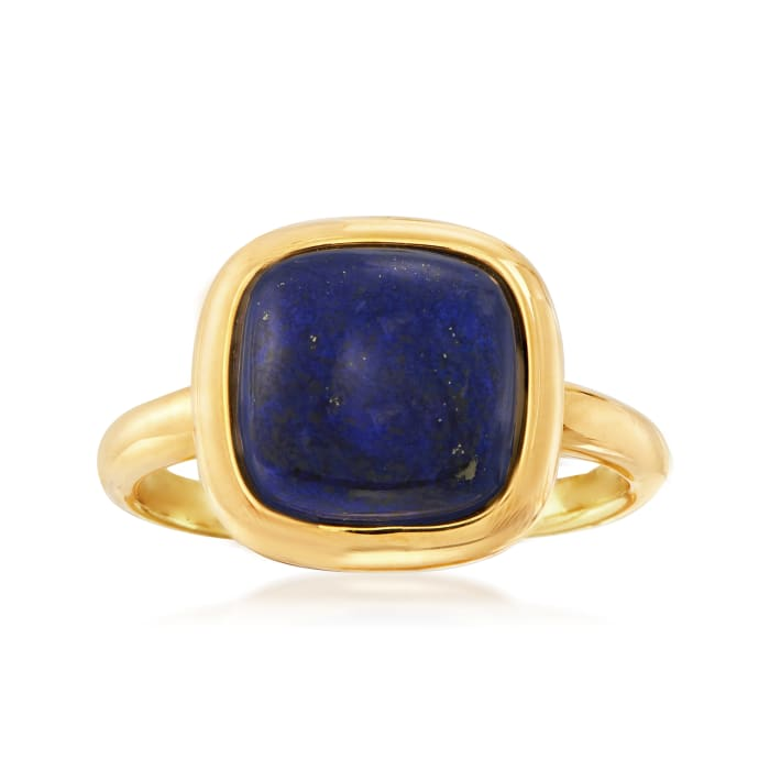 Square Lapis Ring in 18kt Gold Over Sterling