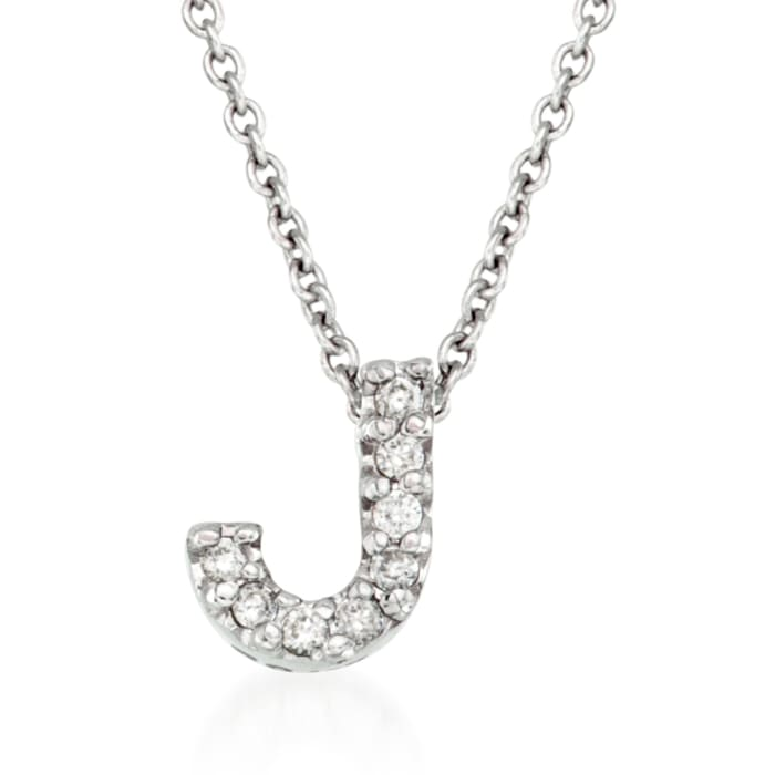 "Roberto Coin ""Love Letter"" Diamond Accent Initial ""J"" Necklace in 18kt White Gold"