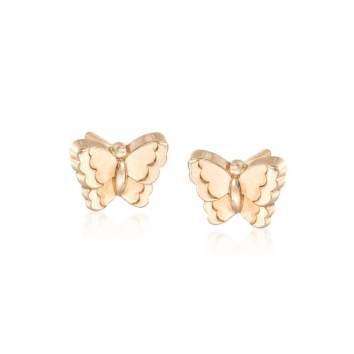 Child's 14kt Yellow Gold Butterfly Earrings