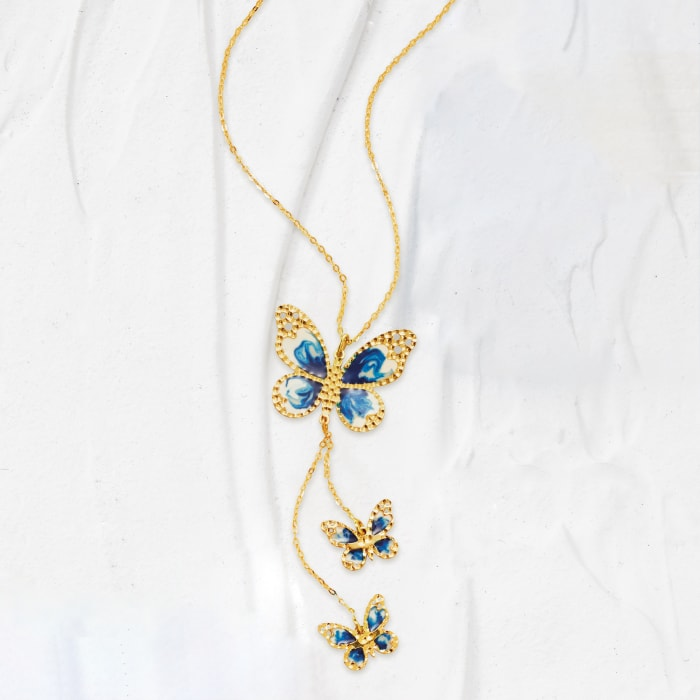 Italian 14kt Yellow Gold Butterfly Necklace with Blue and White Enamel