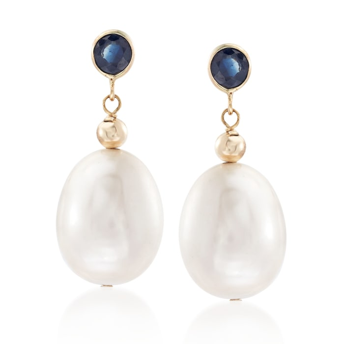 9.5-10.5mm Cultured Pearl and .60 ct. t.w. Sapphire Drop Earrings in 14kt Yellow Gold