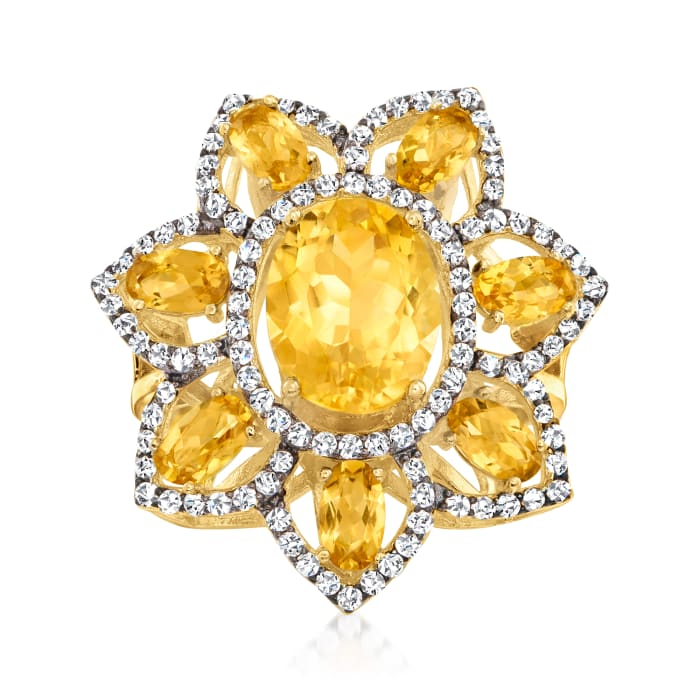 4.50 ct. t.w. Citrine and White Topaz Flower Ring in 18kt Gold Over Sterling