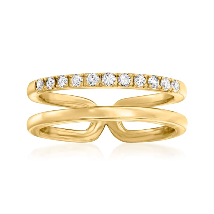 .25 ct. t.w. Diamond Open-Space Double-Band Ring in 18kt Gold Over Sterling