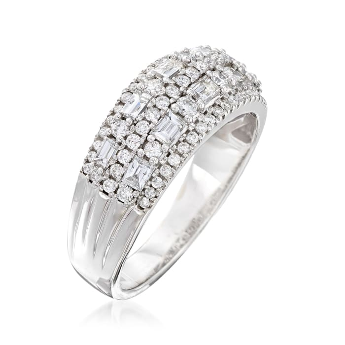 .90 ct. t.w. Round and Baguette Diamond Ring in 14kt White Gold