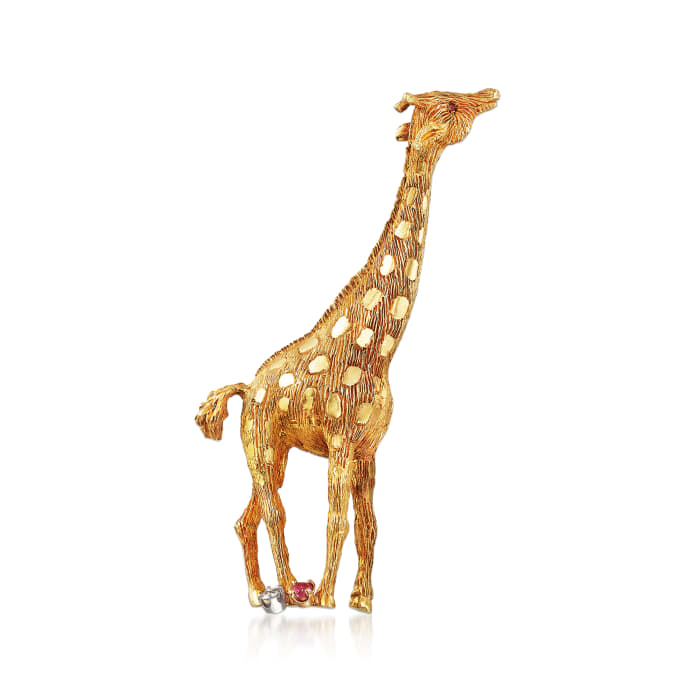 C. 1980 Vintage .10 Carat Diamond and .17 ct. t.w. Ruby Giraffe Pin in 18kt Yellow Gold
