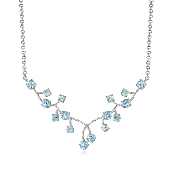 6.90 ct. t.w. Sky Blue Topaz Cluster Necklace in Sterling Silver