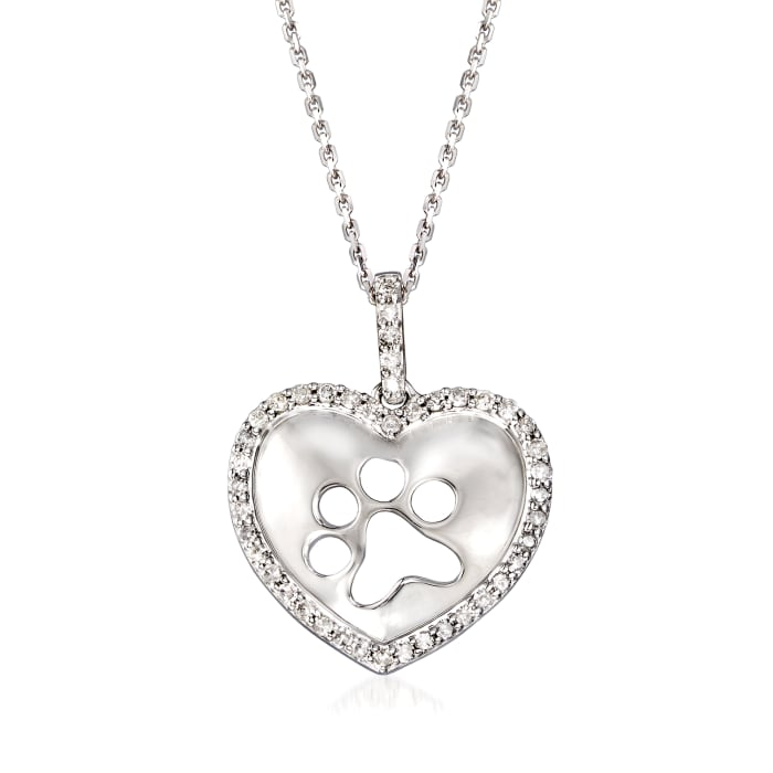 .25 ct. t.w. Diamond Paw Print Heart Pendant Necklace in Sterling Silver