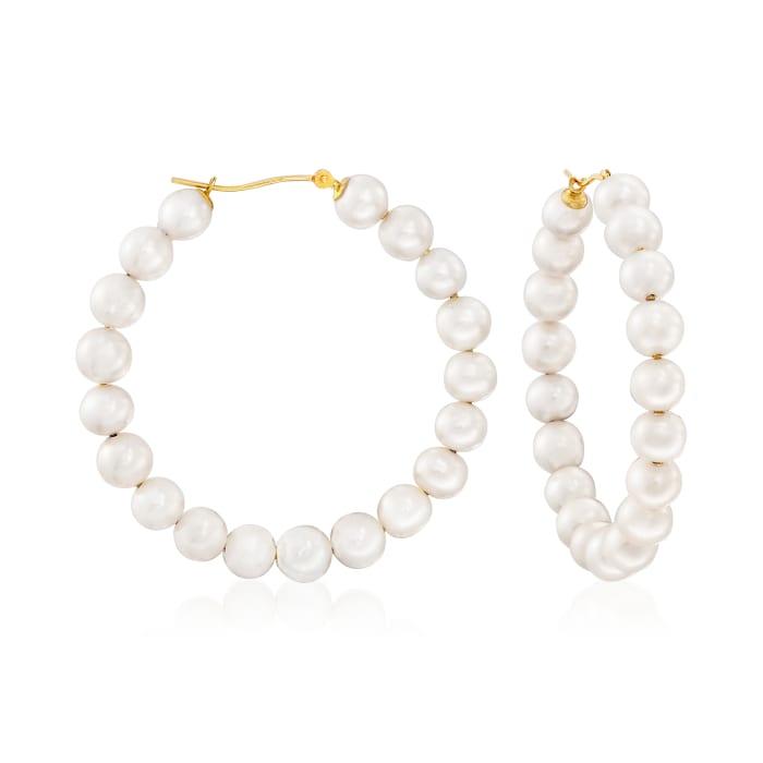 6-7mm Cultured Pearl Hoop Earrings in 14kt Yellow Gold