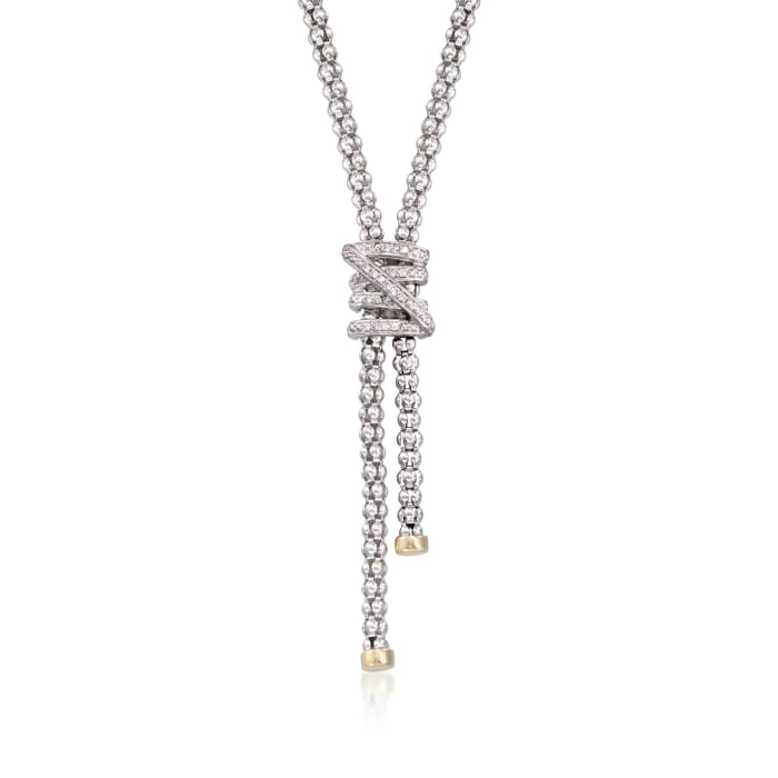 "Phillip Gavriel ""Popcorn"" .13 ct. t.w. Diamond X Lariat Necklace in Sterling Silver and 18kt Gold"