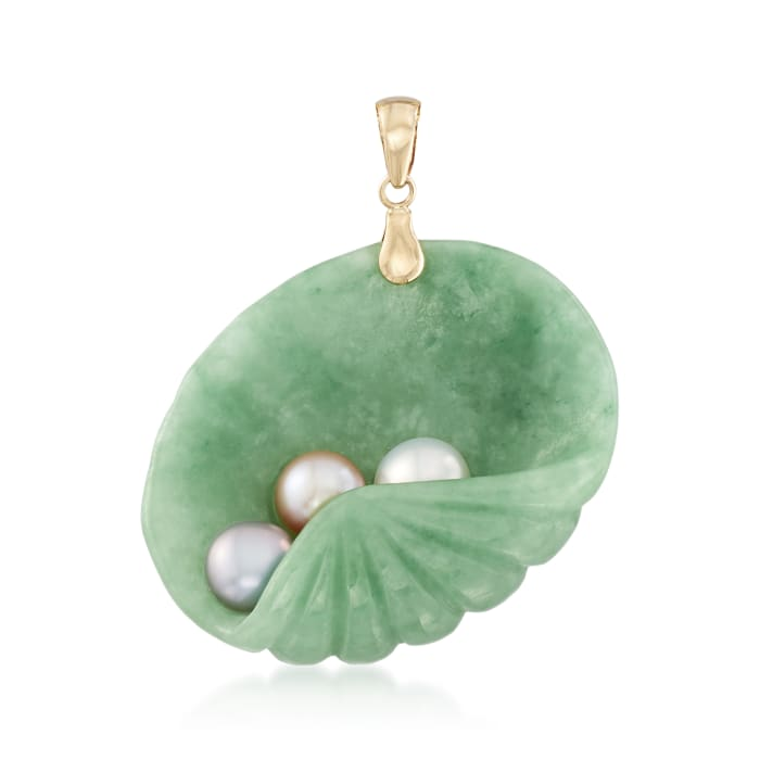 Jade and 6-6.5mm Multicolored Cultured Pearl Shell Pendant in 14kt Yellow Gold
