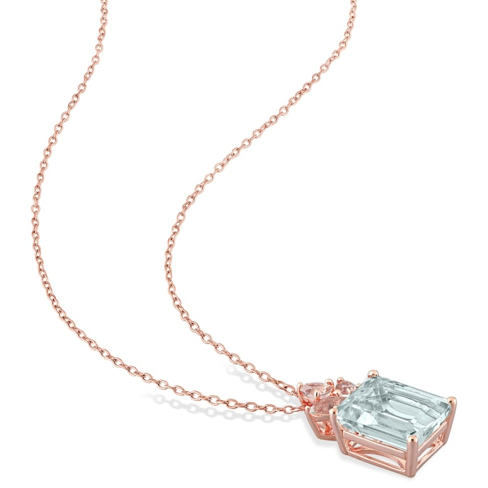 5.60 Carat Aquamarine and .75 ct. t.w. Morganite Necklace in 18kt Rose Gold Over Sterling Silver