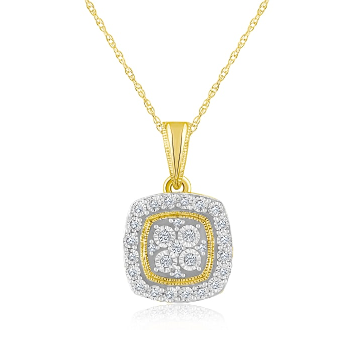 .10 ct. t.w. Diamond Square Cluster Pendant Necklace in 14kt Yellow Gold
