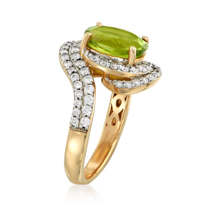 2.70 Carat Peridot and .72 ct. t.w. Diamond Ring in 14kt Yellow Gold