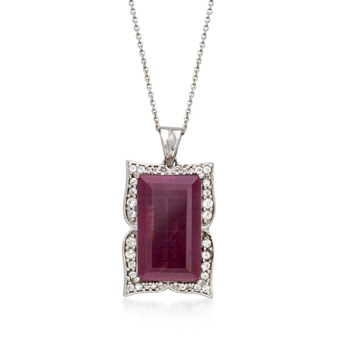 14.00 Carat Ruby and .48 ct. t.w. White Topaz Frame Pendant Necklace in Sterling Silver