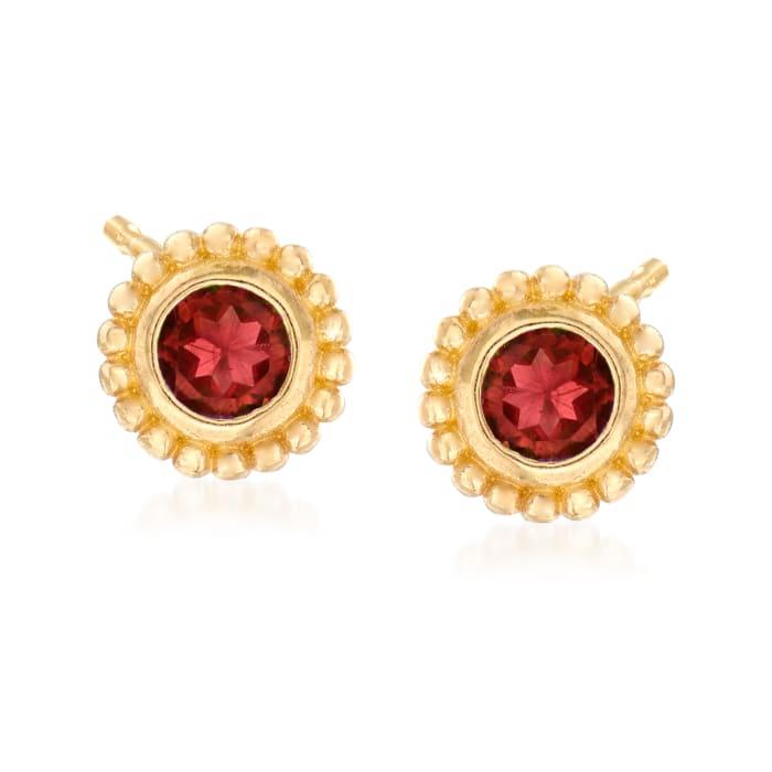 """Phillip Gavriel """"Popcorn"""" .30 ct. t.w. Garnet Stud Earrings in 14kt Yellow Gold"""