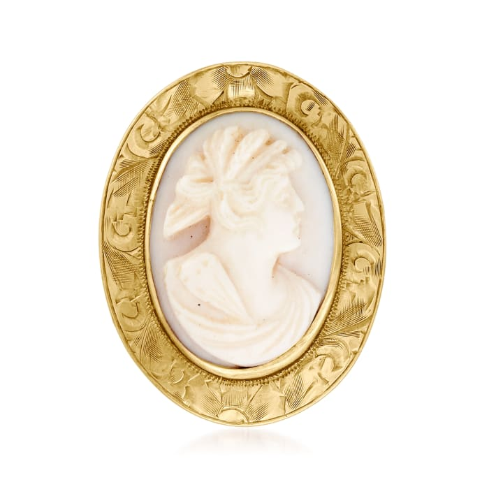 C. 1930 Vintage Pink Shell Cameo Pin/Pendant in 10kt Yellow Gold