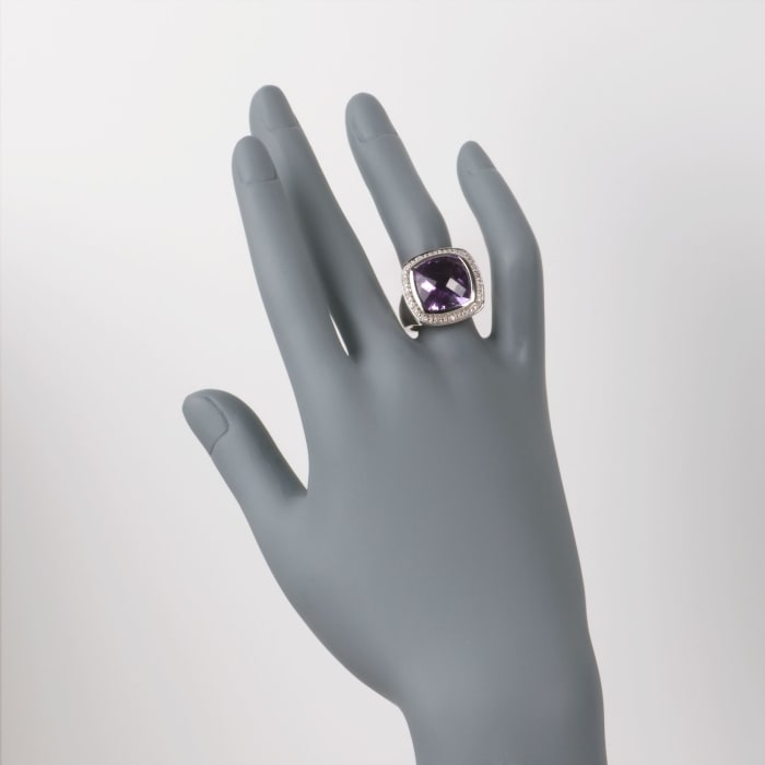 9.10 Carat Amethyst and .10 ct. t.w. Diamond Ring in Sterling Silver