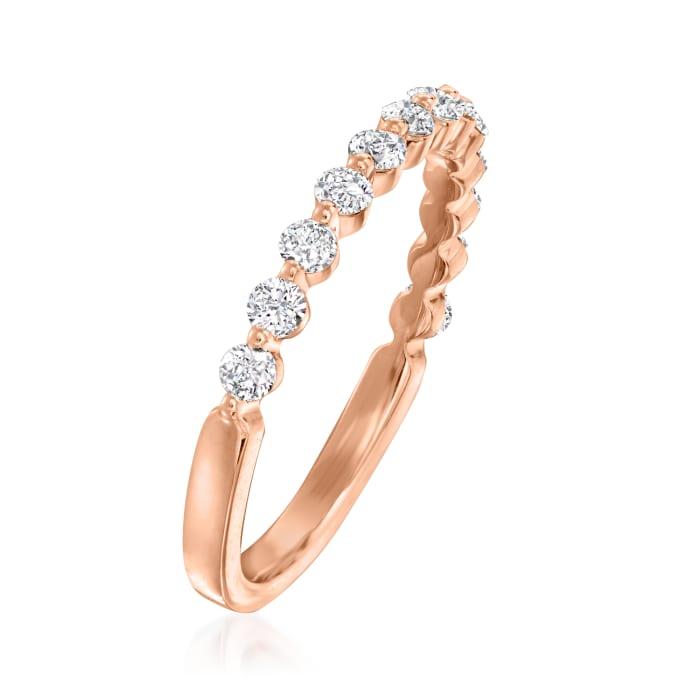 Henri Daussi .50 ct. t.w. Diamond Wedding Ring in 18kt Rose Gold