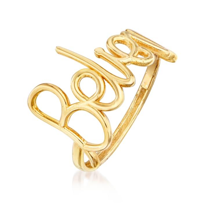"Italian 14kt Yellow Gold ""Believe"" Ring"