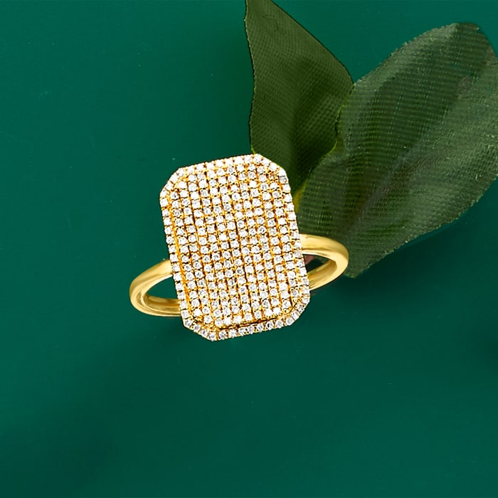 .33 ct. t.w. Pave Diamond Rectangular Ring in 14kt Yellow Gold
