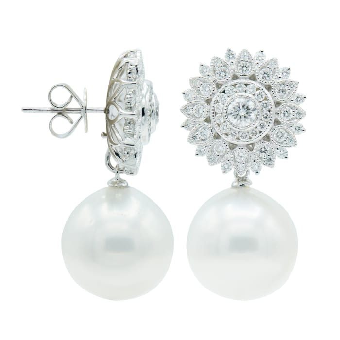 14-15mm Cultured South Sea Pearl and .16 ct. t.w. Diamond Drop Earrings in 18kt White Gold