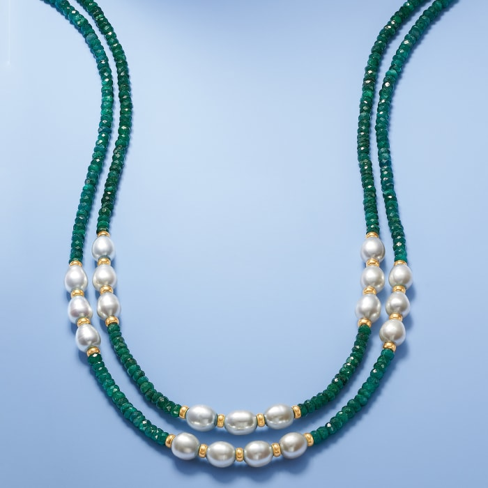 4-5mm Emerald Bead and 7-8mm Cultured Pearl Two-Strand Necklace with 14kt Yellow Gold