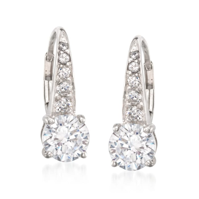 3.20 ct. t.w. CZ Drop Earrings in Sterling Silver