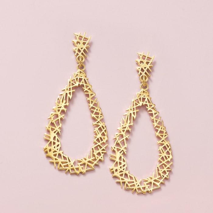 14kt Yellow Gold Openwork Crisscross Teardrop Earrings