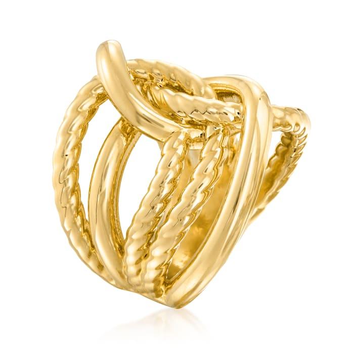 Italian Andiamo 14kt Yellow Gold Over Resin Interlocking Ring
