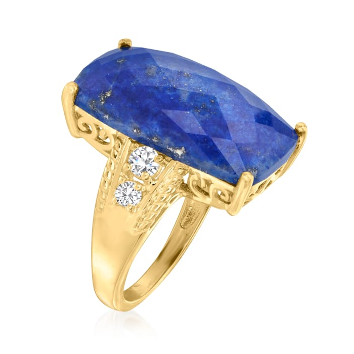 Lapis and .30 ct. t.w. White Topaz Ring in 18kt Gold Over Sterling