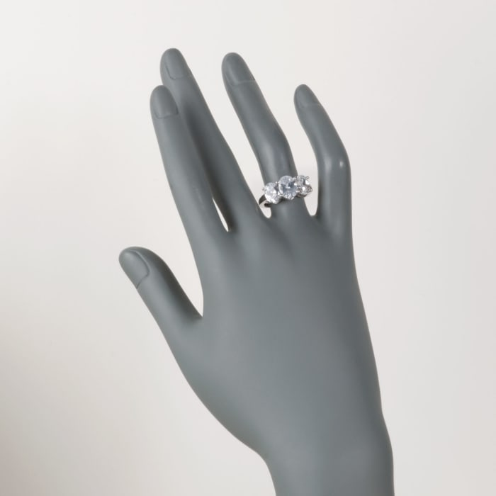 4.00 ct. t.w. Oval CZ Three-Stone Ring in 14kt White Gold