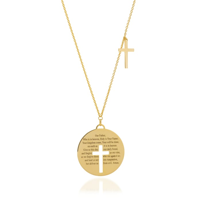 14kt Yellow Gold Lord's Prayer Disc and Cross  Necklace