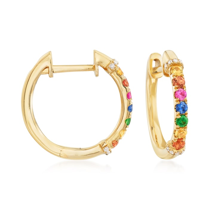 .36 ct. t.w. Multicolored Sapphire Hoop Earrings with Tsavorite and Diamond Accents in 14kt Yellow Gold