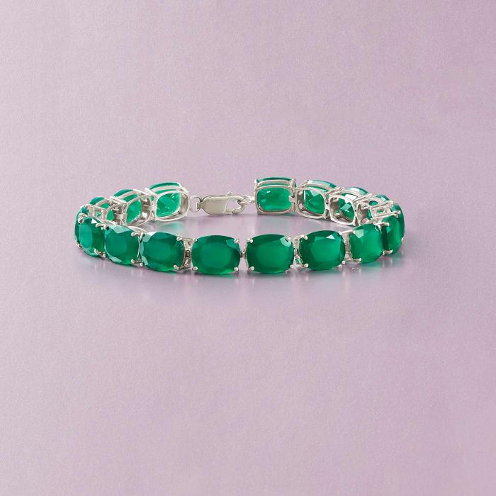 Cushion-Cut Green Chalcedony Tennis Bracelet in Sterling Silver