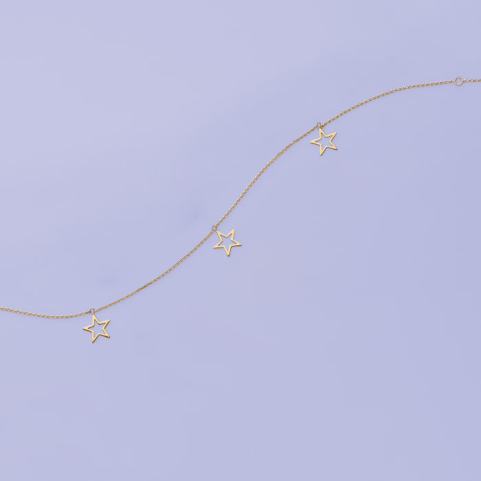 14kt Yellow Gold Star Trio Dangle Anklet