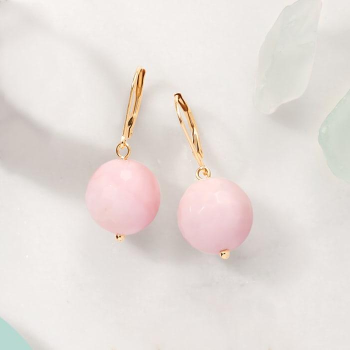Pink Opal Bead Drop Earrings in 14kt Yellow Gold