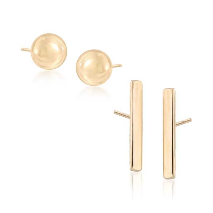 14kt Yellow Gold Jewelry Set: Two Pairs of Stud Earrings