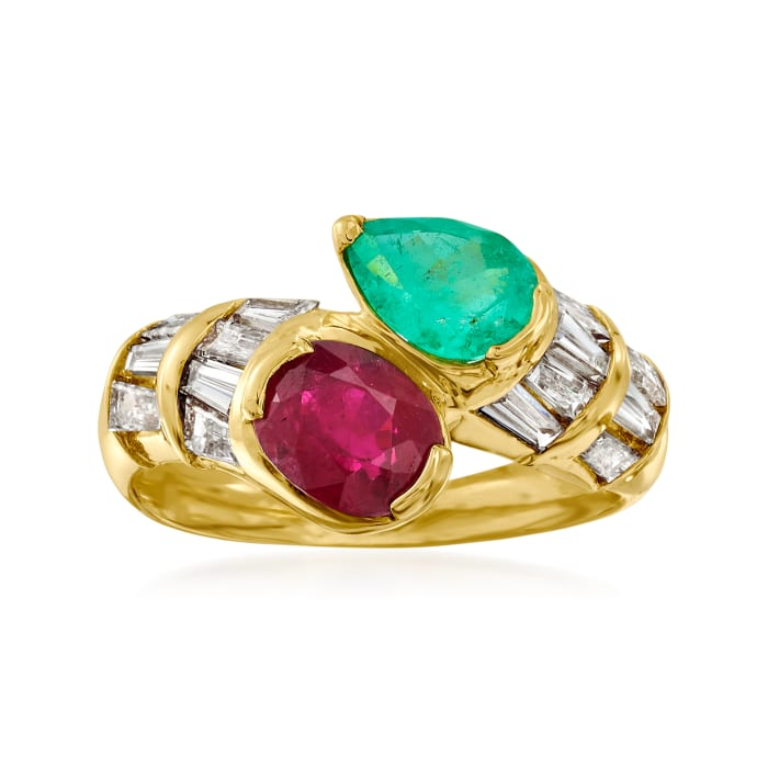 C. 2000 Vintage 1.37 Carat Ruby, .98 ct. t.w. Diamond and .78 Carat Emerald Bypass Ring in 18kt Yellow Gold
