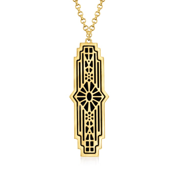 Italian Black Onyx Art Deco-Style Pendant Necklace in 14kt Yellow Gold