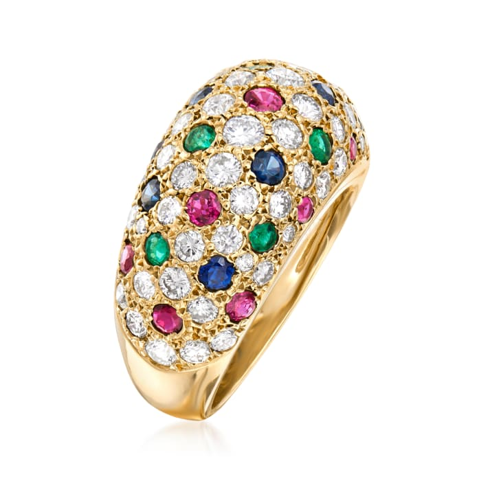 C. 1980 Vintage 2.30 ct. t.w. Diamond and 1.80 ct. t.w. Multi-Gemstone Dome Ring in 18kt Yellow Gold