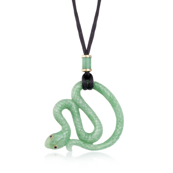 Jade Snake Pendant Necklace with Black Satin Cord