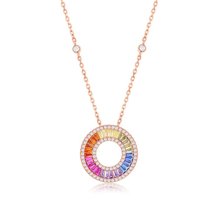 Simulated Sapphire and .70 ct. t.w. CZ Rainbow Pendant Necklace in 18kt Rose Gold Over Sterling