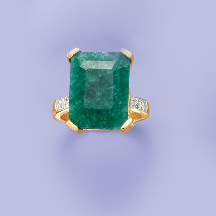 7.25 Carat Emerald and .14 ct. t.w. White Topaz Ring in 14kt Gold Over Sterling