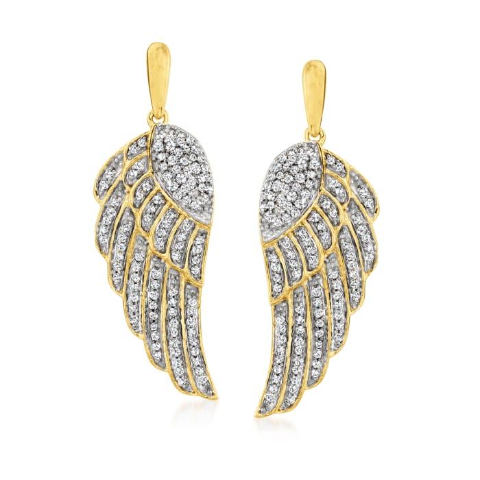 .37 ct. t.w. Diamond Angel Wing Drop Earrings in 18kt Gold Over Sterling