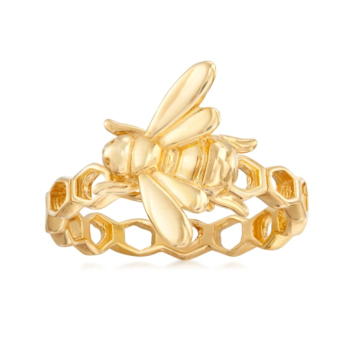 Italian 18kt Gold Over Sterling Bee Honeycomb Ring