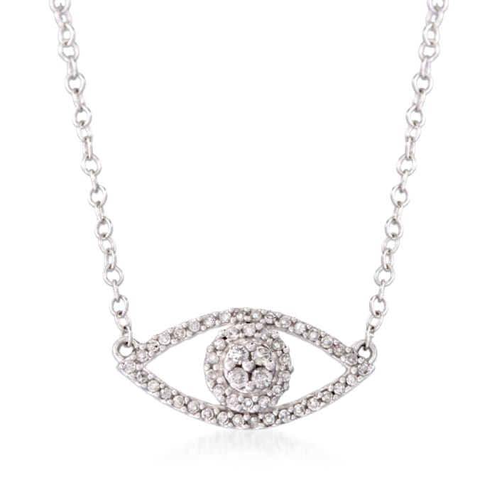 .14 ct. t.w. Diamond Evil Eye Necklace in 14kt White Gold