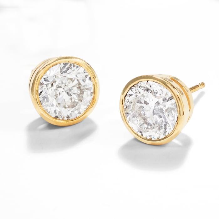3.00 ct. t.w. Bezel-Set Diamond Stud Earrings in 14kt Yellow Gold