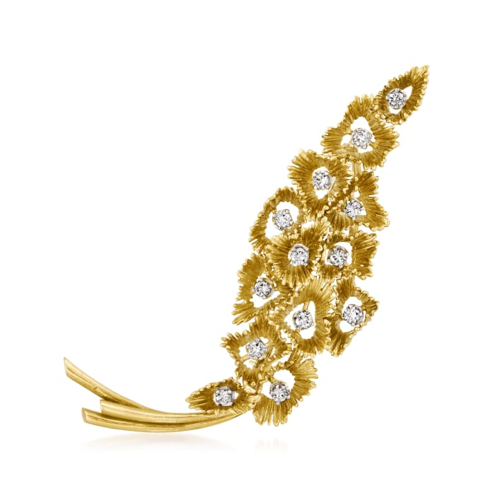 C. 1970 Vintage 1.00 ct. t.w. Diamond Flower Pin in 18kt Yellow Gold