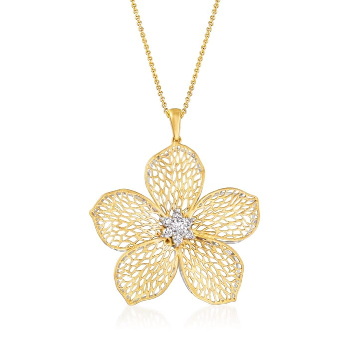 Simon G. .30 ct. t.w. Diamond Flower Pendant Necklace in 18kt Yellow Gold